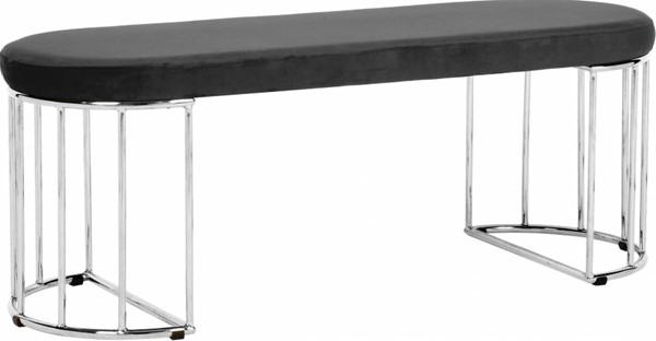 Meridian Furniture Gio Grey Velvet Chrome Legs Bench MRD-152Grey