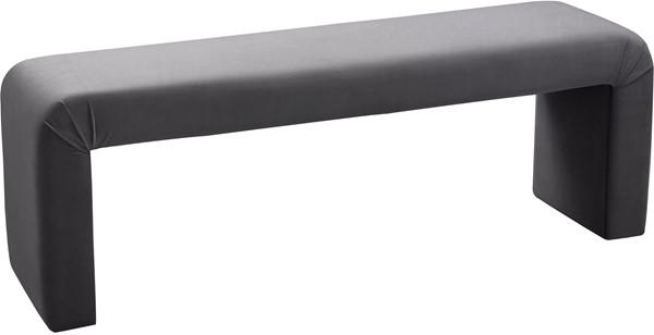 Meridian Furniture Minimalist Grey Velvet Bench MRD-174Grey