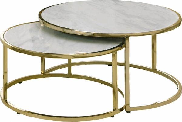 Meridian Furniture Massimo Faux Marble Top Gold Steel Coffee Table MRD-207-C