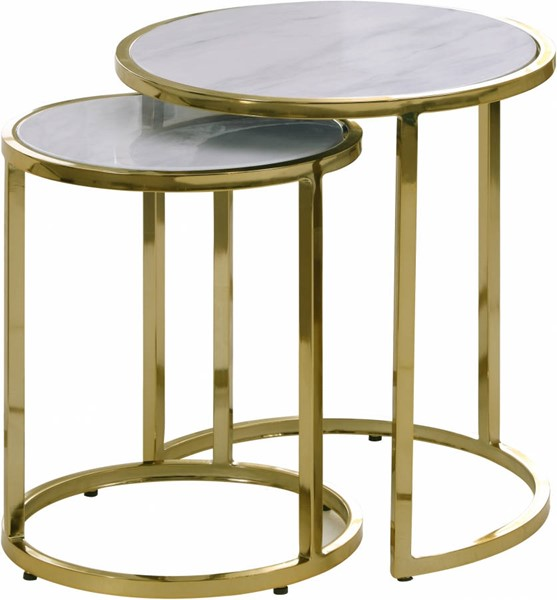 Meridian Furniture Massimo Faux Marble Top Gold Steel End Table MRD-207-E
