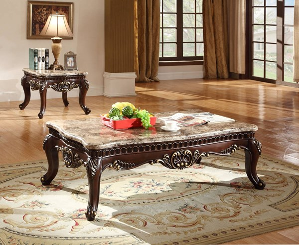 Catania Traditional Dark Cherry Genuine Marble Top Coffee Table Set Occasional Tables The