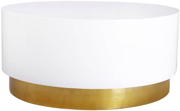 Meridian Furniture Deco White Lacquer Gold Metal Coffee Table MRD-215-C