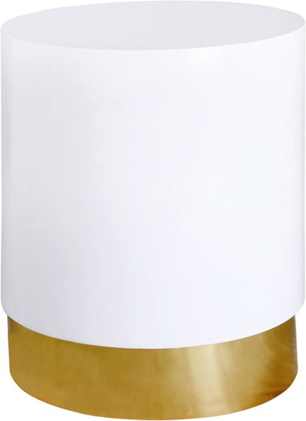 Design Edge Narromine  White Lacquer Gold Metal End Table DE-23462032