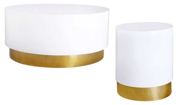 Meridian Furniture Deco White Lacquer Gold Metal 3pc Coffee Table Set MRD-215-OCT-S1