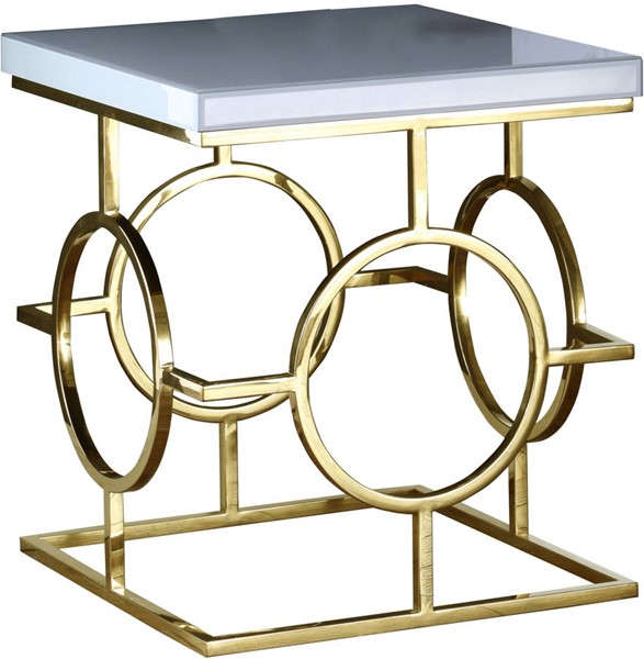 Design Edge Manildra  Gold White End Table DE-22248278
