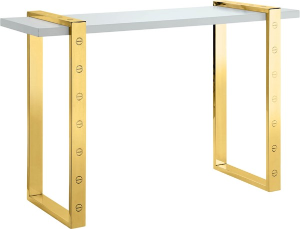 Meridian Furniture Amore White Gold Base Console Table MRD-273-S