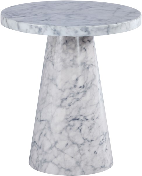 Meridian Furniture Omni White Faux Marble End Table MRD-274-ET