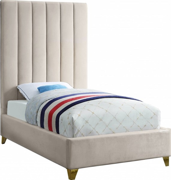 Meridian Furniture Via Cream Velvet Twin Bed MRD-ViaCream-T