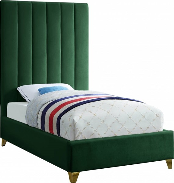 Meridian Furniture Via Green Velvet Twin Bed MRD-ViaGreen-T