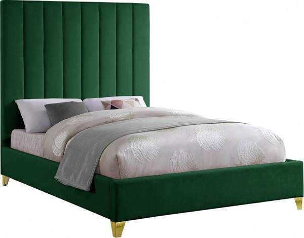 Meridian Furniture Via Green Velvet Queen Bed MRD-ViaGreen-Q