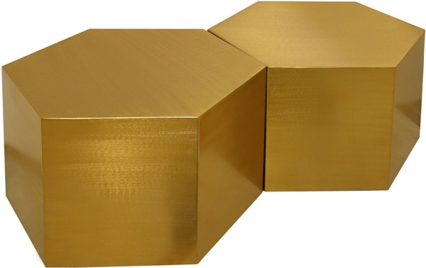 Meridian Furniture Hexagon Brushed Gold 2pc Coffee Tables MRD-292-CT-2PC