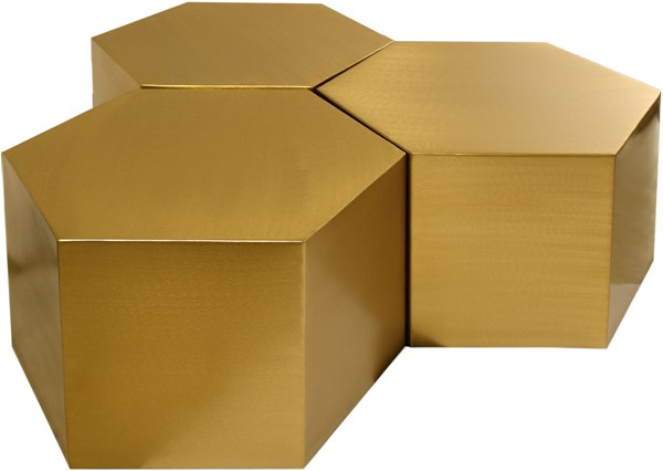 Meridian Furniture Hexagon Brushed Gold 3pc Coffee Tables MRD-292-CT-3PC