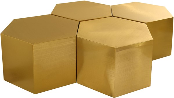 Meridian Furniture Hexagon Brushed Gold 4pc Coffee Tables MRD-292-CT-4PC