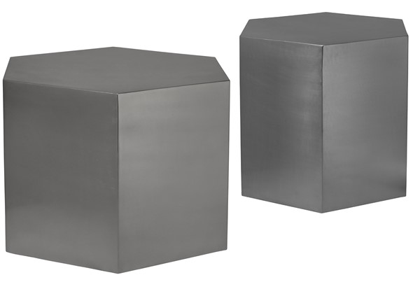 Meridian Furniture Hexagon Brushed Chrome 3pc Coffee Table Set MRD-293-OCT-S1
