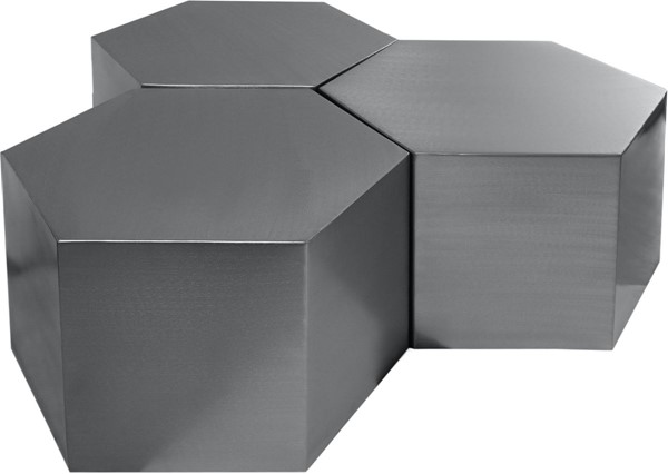 Meridian Furniture Hexagon Brushed Chrome 3pc Coffee Tables MRD-293-CT-3PC