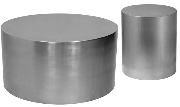 Meridian Furniture Cylinder Brushed Chrome 3pc Coffee Table Set MRD-29-OCT-S2