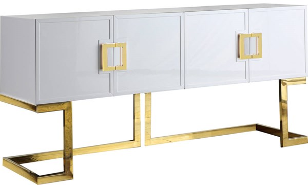 Meridian Furniture Beth White Gold Base Sideboard Buffet MRD-306