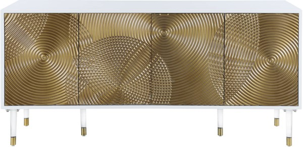 Meridian Furniture Bellissimo White Top Gold Doors Sideboard Buffet MRD-321