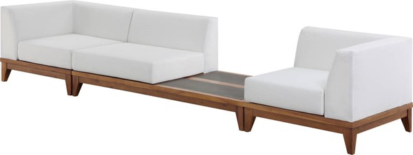Meridian Furniture Rio Off White Fabric Modular Sofa with Integrated Table MRD-389White-S125