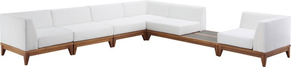 Meridian Furniture Rio Off White Fabric 6pc Modular Sectional with Integrated Table MRD-389White-Sec6B