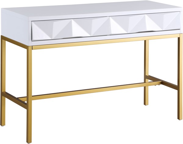 Meridian Furniture Pandora White Lacquer Gold Console Table MRD-426-T