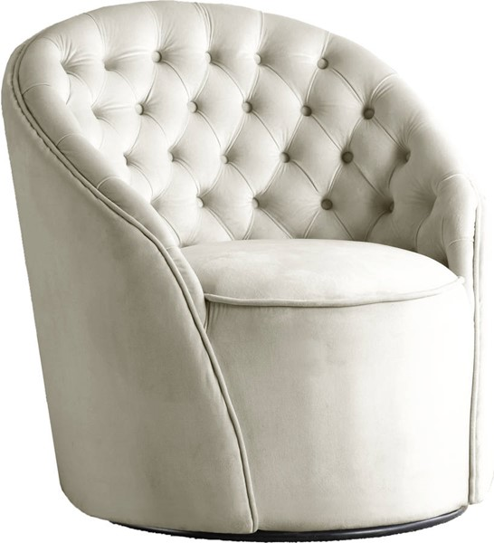 Meridian Furniture Alessio Cream Velvet Accent Chair MRD-501Cream