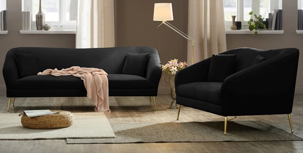 Meridian Furniture Hermosa Black Velvet 2pc Living Room Set MRD-658-LR-S6