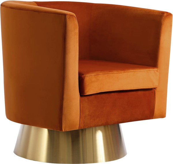 Meridian Furniture Bellagio Cognac Velvet Accent Chair MRD-581Cognac