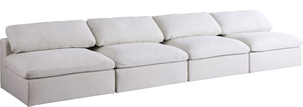 Meridian Furniture Serene Cream Linen Deluxe Cloud Modular 4pc Armless Sofa MRD-601Cream-S156