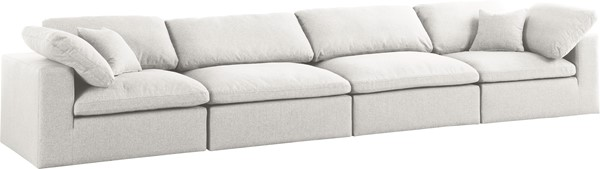 Meridian Furniture Serene Cream Linen Deluxe Cloud Modular 4pc Sofa MRD-601Cream-S158