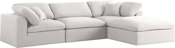 Meridian Furniture Serene Cream Linen Deluxe Cloud Modular 4pc Sectional MRD-601Cream-Sec4A