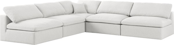 Meridian Furniture Serene Cream Linen Deluxe Cloud Modular 5pc Armless Sectional MRD-601Cream-Sec5B