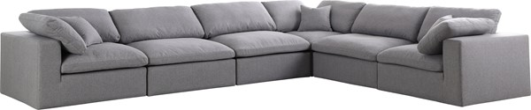 Meridian Furniture Serene Grey Linen Deluxe Cloud Modular 6pc Reversible Sectional MRD-601Grey-Sec6A