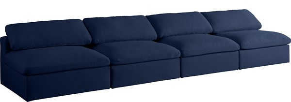 Meridian Furniture Serene Navy Linen Deluxe Cloud Modular 4pc Armless Sofa MRD-601Navy-S156