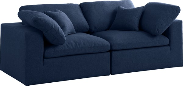 Meridian Furniture Serene Navy Linen Deluxe Cloud Modular 2pc Sofa MRD-601Navy-S80