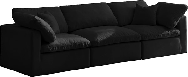 Meridian Furniture Plush Black Modular 3pc Sofas MRD-602-S105-VAR
