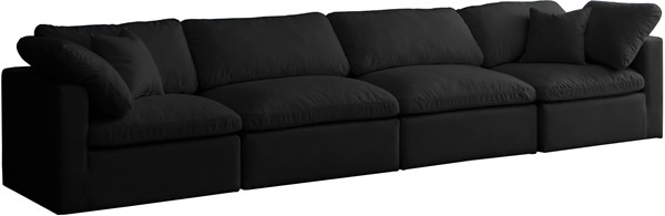 Meridian Furniture Plush Black Modular 4pc Sofas MRD-602-S140-VAR
