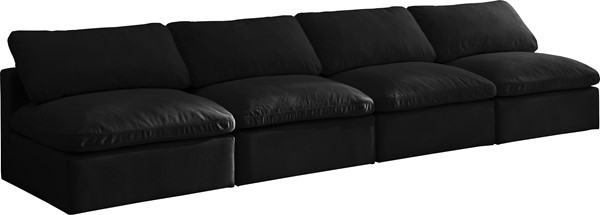 Meridian Furniture Plush Black Velvet Cloud Modular 4pc Armless Sofa MRD-602Black-S4