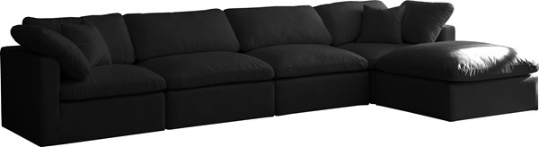 Meridian Furniture Plush Black Modular 5pc Reversible Sectionals MRD-602-SEC5A-VAR