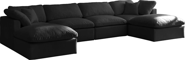 Meridian Furniture Plush Black Modular 6pc Symmetrical Sectionals MRD-602-SEC6B-VAR