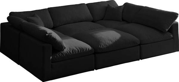 Meridian Furniture Plush Black Velvet Cloud Modular 6pc Sectional MRD-602Black-Sec6C