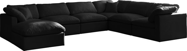 Meridian Furniture Plush Black Modular 7pc Sectionals MRD-602-SEC7A-VAR