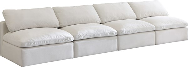 Meridian Furniture Plush Cream Velvet Cloud Modular 4pc Armless Sofa MRD-602Cream-S4