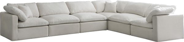 Meridian Furniture Plush Cream Velvet Cloud Modular 6pc Reversible Sectional MRD-602Cream-Sec6A