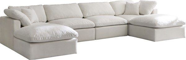 Meridian Furniture Plush Cream Velvet Cloud Modular 6pc Symmetrical Sectional MRD-602Cream-Sec6B