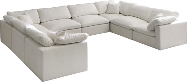 Meridian Furniture Plush Cream Velvet Cloud Modular 8pc Sectional MRD-602Cream-Sec8A