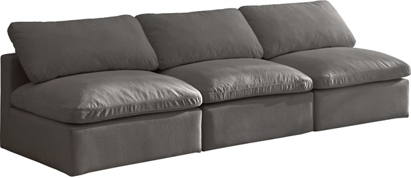 Meridian Furniture Plush Grey Velvet Cloud Modular 3pc Armless Sofa MRD-602Grey-S3