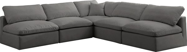 Meridian Furniture Plush Grey Velvet Cloud Modular 5pc Armless Sectional MRD-602Grey-Sec5B