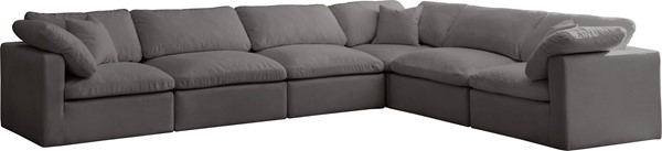 Meridian Furniture Plush Grey Velvet Cloud Modular 6pc Reversible Sectional MRD-602Grey-Sec6A