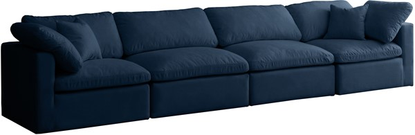 Meridian Furniture Plush Navy Velvet Cloud Modular 4pc Sofa MRD-602Navy-S140